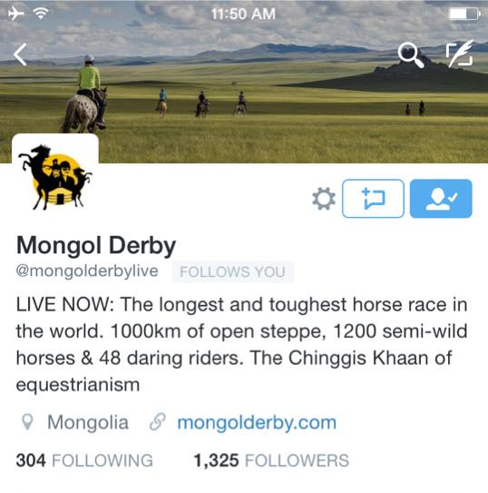 Life tracking map Mongol Derby 2015